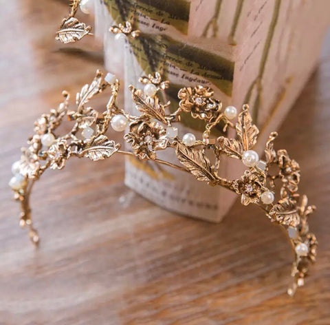 Vintage Baroque pearl & gold leaf crown.