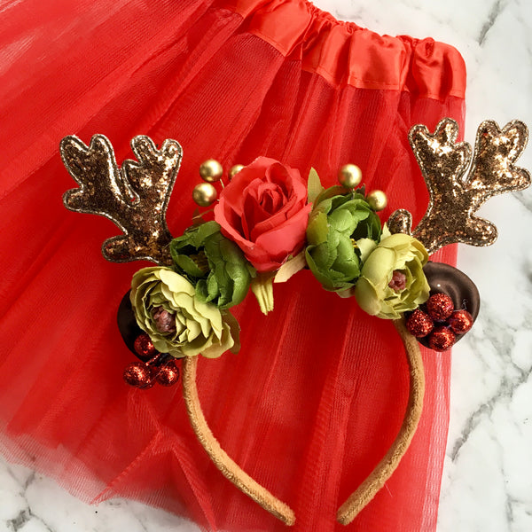 Reindeer Princess - reindeer crown + tutu set.