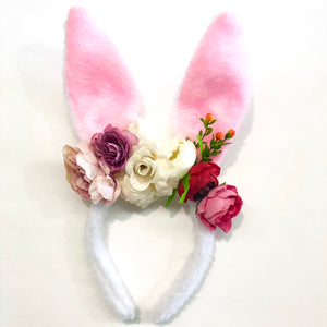 Fluffy white/pink bunny ears - berry.
