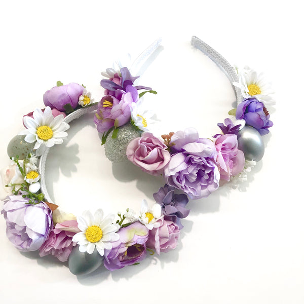 Floral Easter egg crown - lilac.