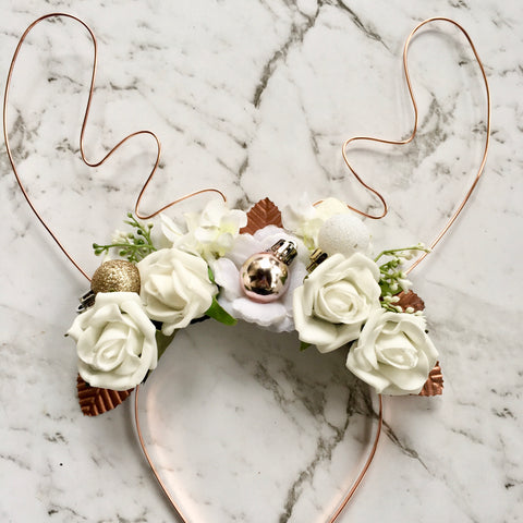 Rose gold reindeer crown