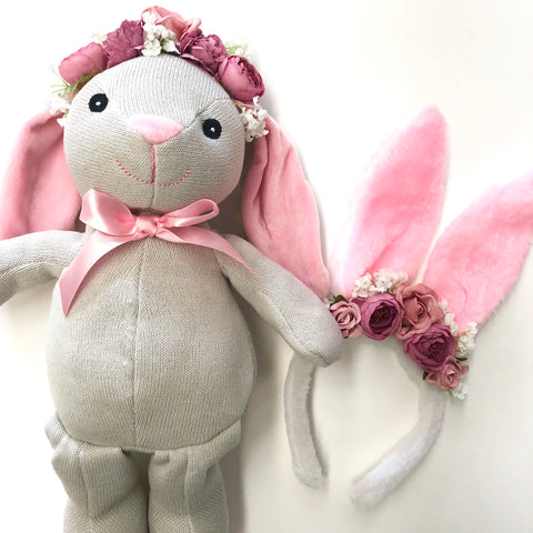 My Easter Bunny + Me set. - Pink bow.