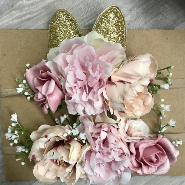 Mini Floral Bunny crown set - mixed pinks.