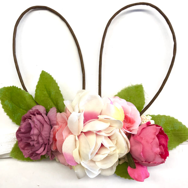 Floral wire bunny ears crown.