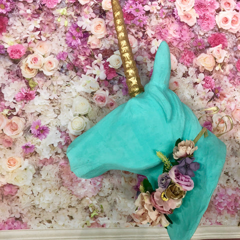 Large Floral Faux Unicorn head wall piece- Aqua.