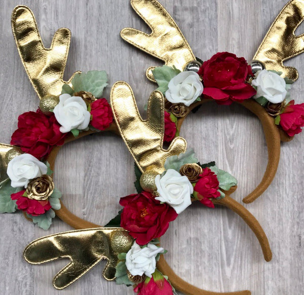 Shiny Gold reindeer crown - red + white.
