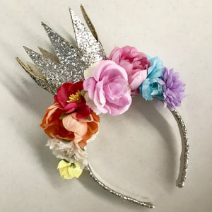 Magic rainbow glitter crown- silver.
