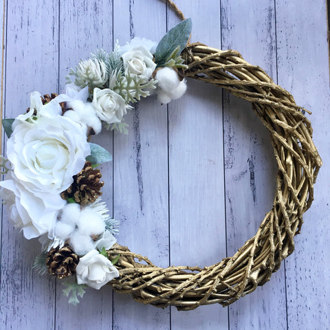 Gold & white - festive floral wreath.