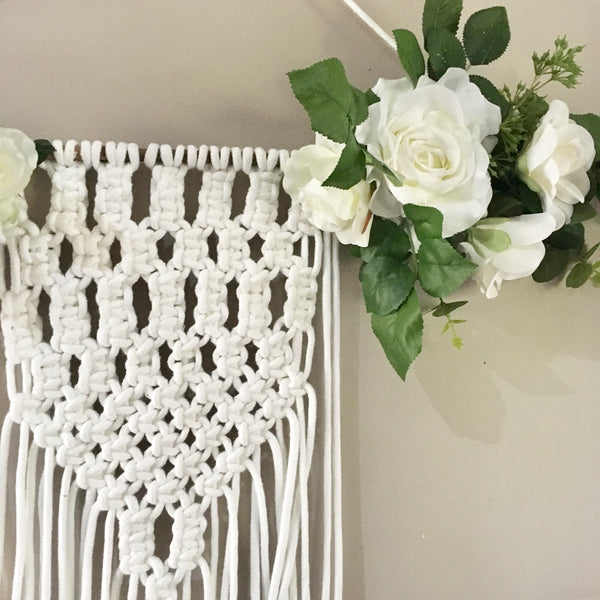 White macrame wall hanging - white florals.
