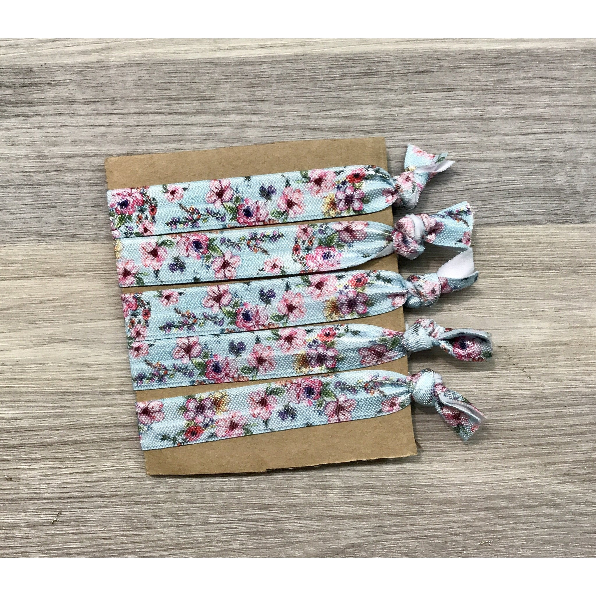 Floral elastic hair ties- blue