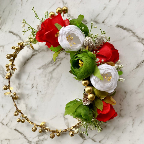 Merry Christmas Flowercrown Halo - Gold/red/white/green.