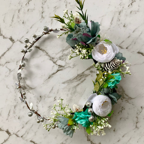 Merry Christmas Flowercrown Halo - Silver /dusty blue.