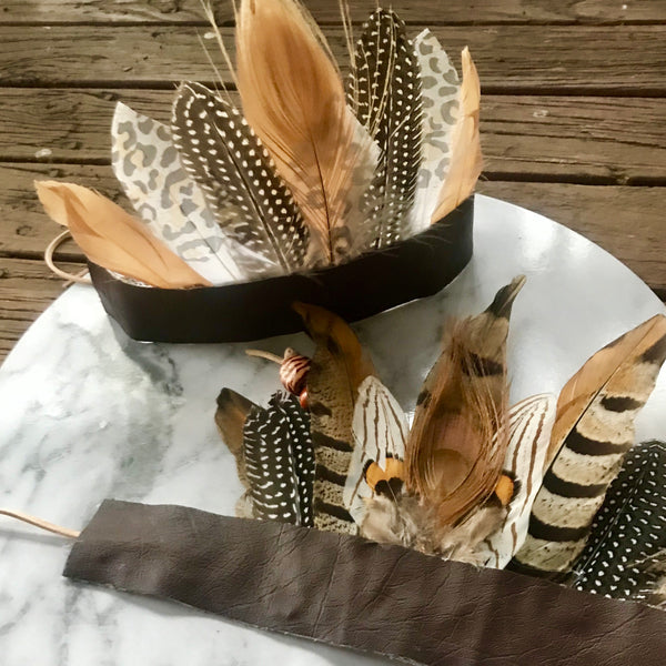 Boho feather crown - ivory/leopard print.