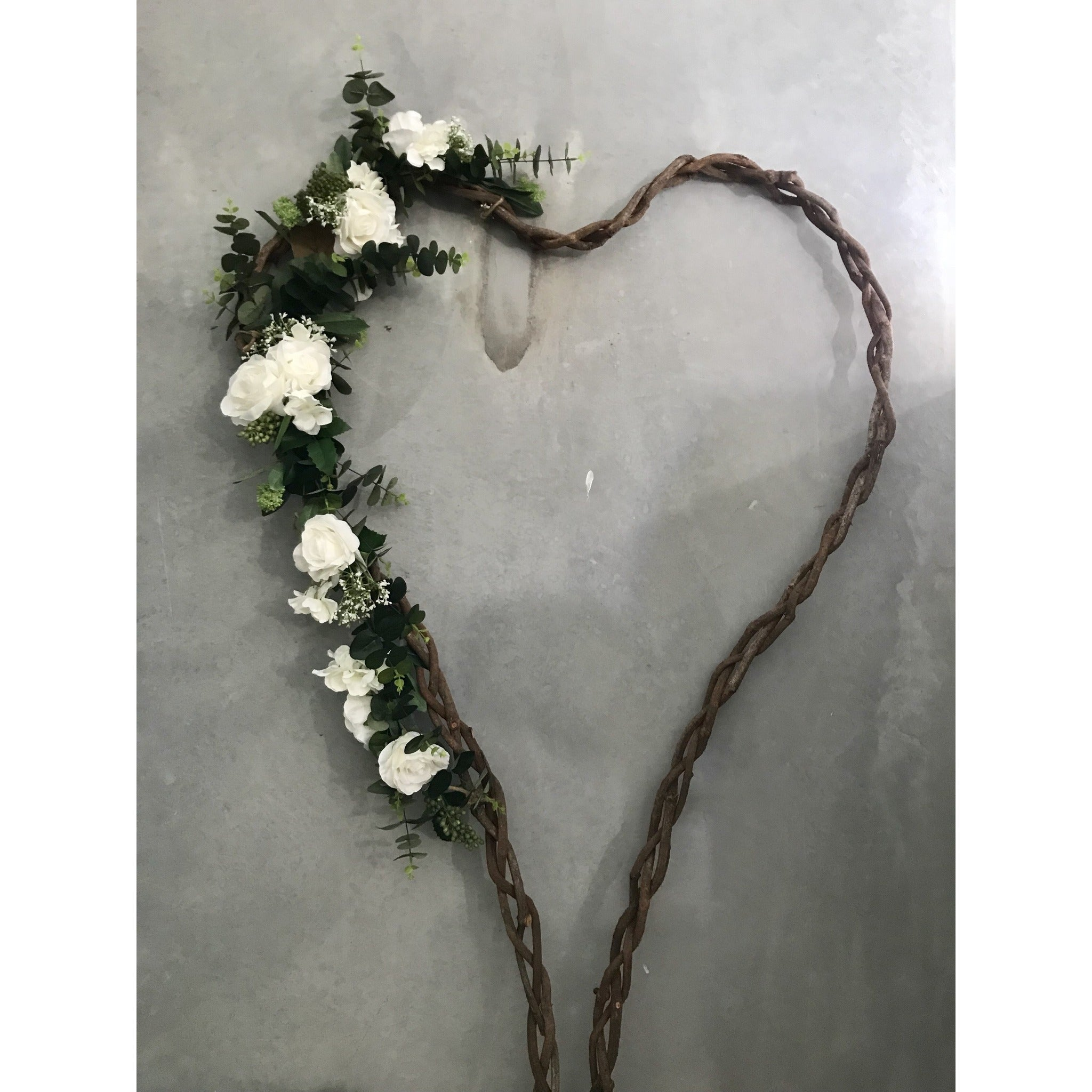 Hire of LARGE - Natural Vine Heart- white + greenery.