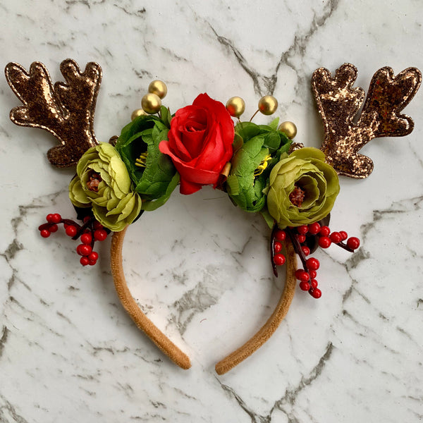 Bronze sequin + floral reindeer crown.