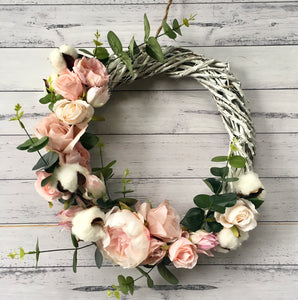 Boho White + dusty pink -  floral wreath.