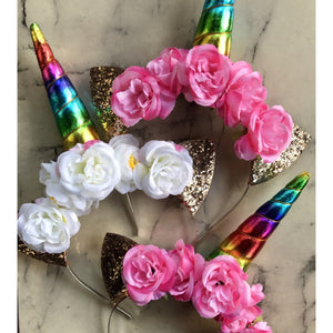 Rainbow unicorn crown- white flowers