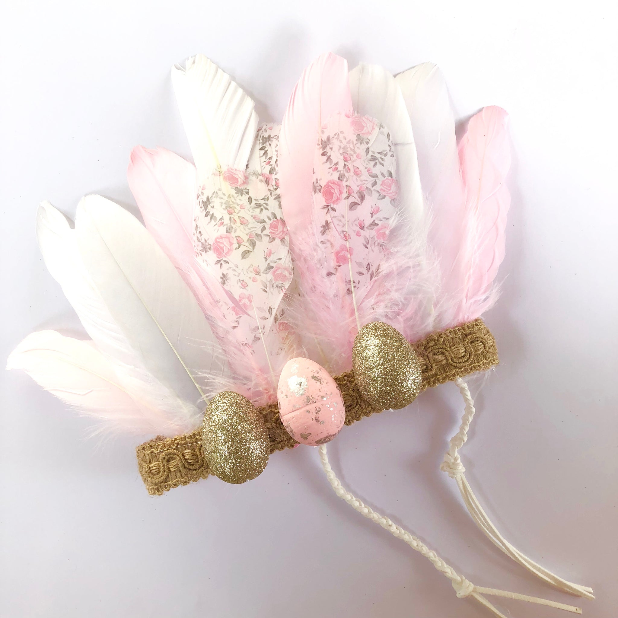 Boho Easter feather crown - pink.