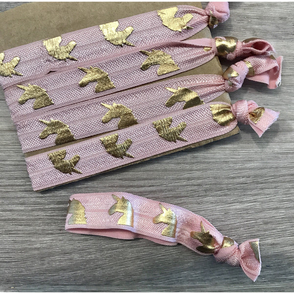 Unicorn hair ties - pink