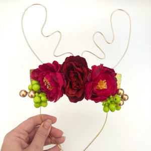 Gold wire reindeer crown - red & green.