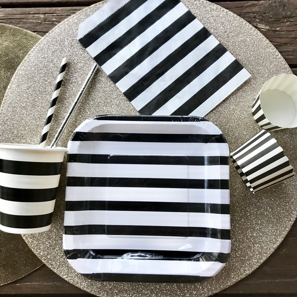 Black & white stripe party set.
