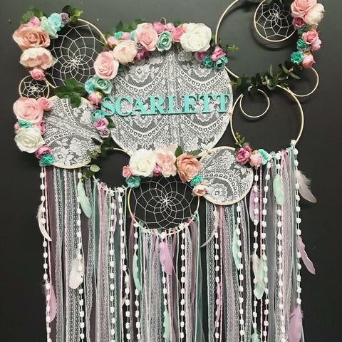 Pastel pink,white, lilac + aqua- mixed Dreamcatcher wall piece.