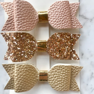 Mermaid glitter bow set- Blush.