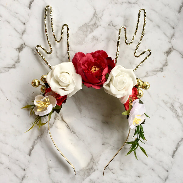 Gold sparkle floral reindeer crown - red/green/white.