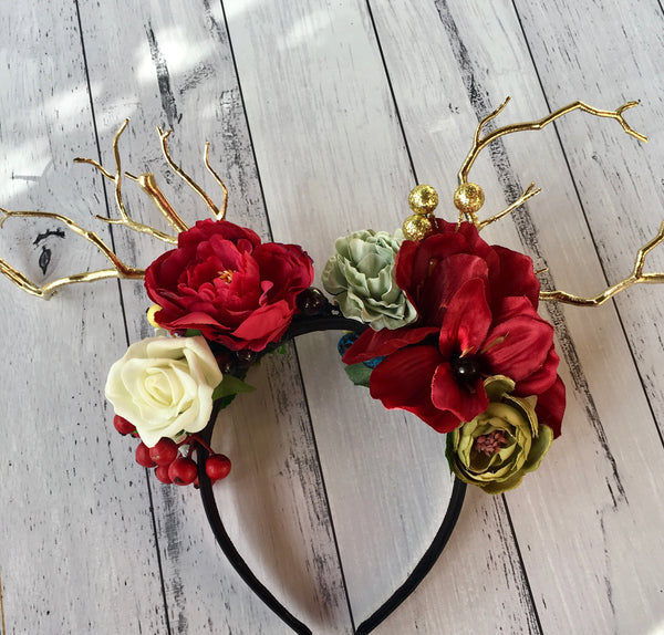 Boho floral deer crown - red