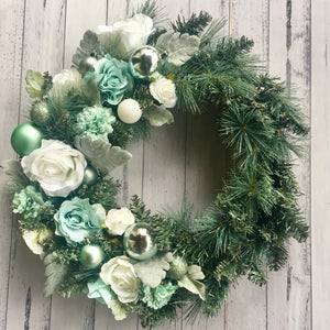 DELUXE - white/spearmint blue & silver floral wreath.
