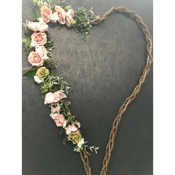 Hire of LARGE - Natural Vine heart- dusty pink.