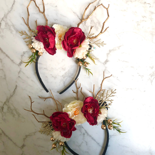 Queen reindeer crown - red,ivory,gold & black.