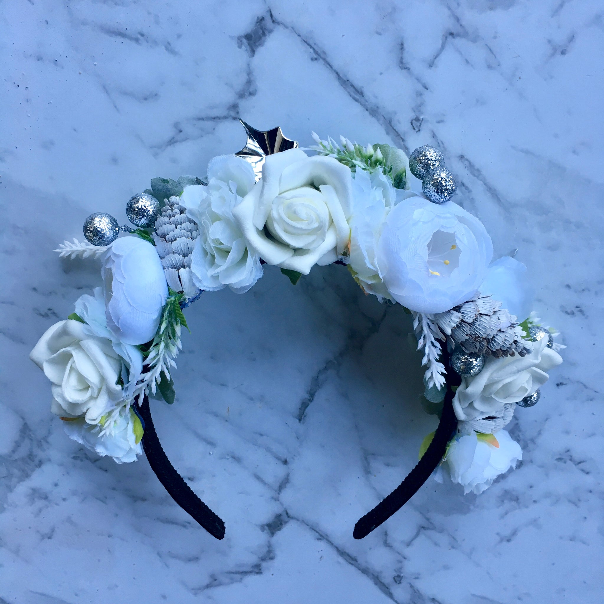 White Christmas floral crown.