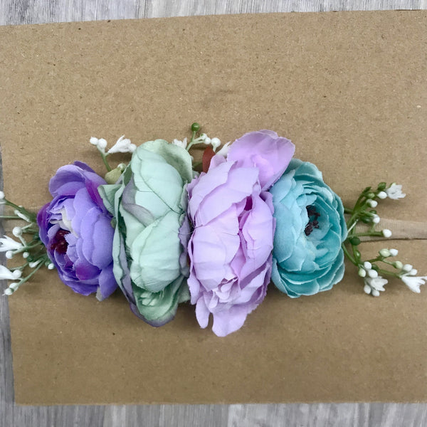 Mini Floral bunny crown set - purple/mint.