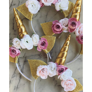 Pink / white - gold unicorn crown.