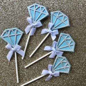 Tiffany blue glitter diamond cupcake topper set.
