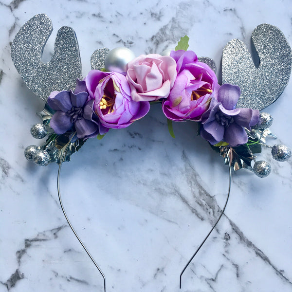 Lilac + silver sparkle reindeer crown.