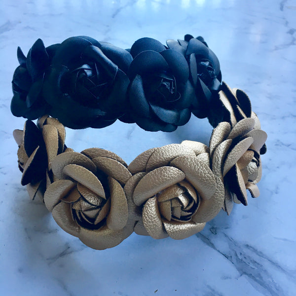 Metallic gold leather rose crown.