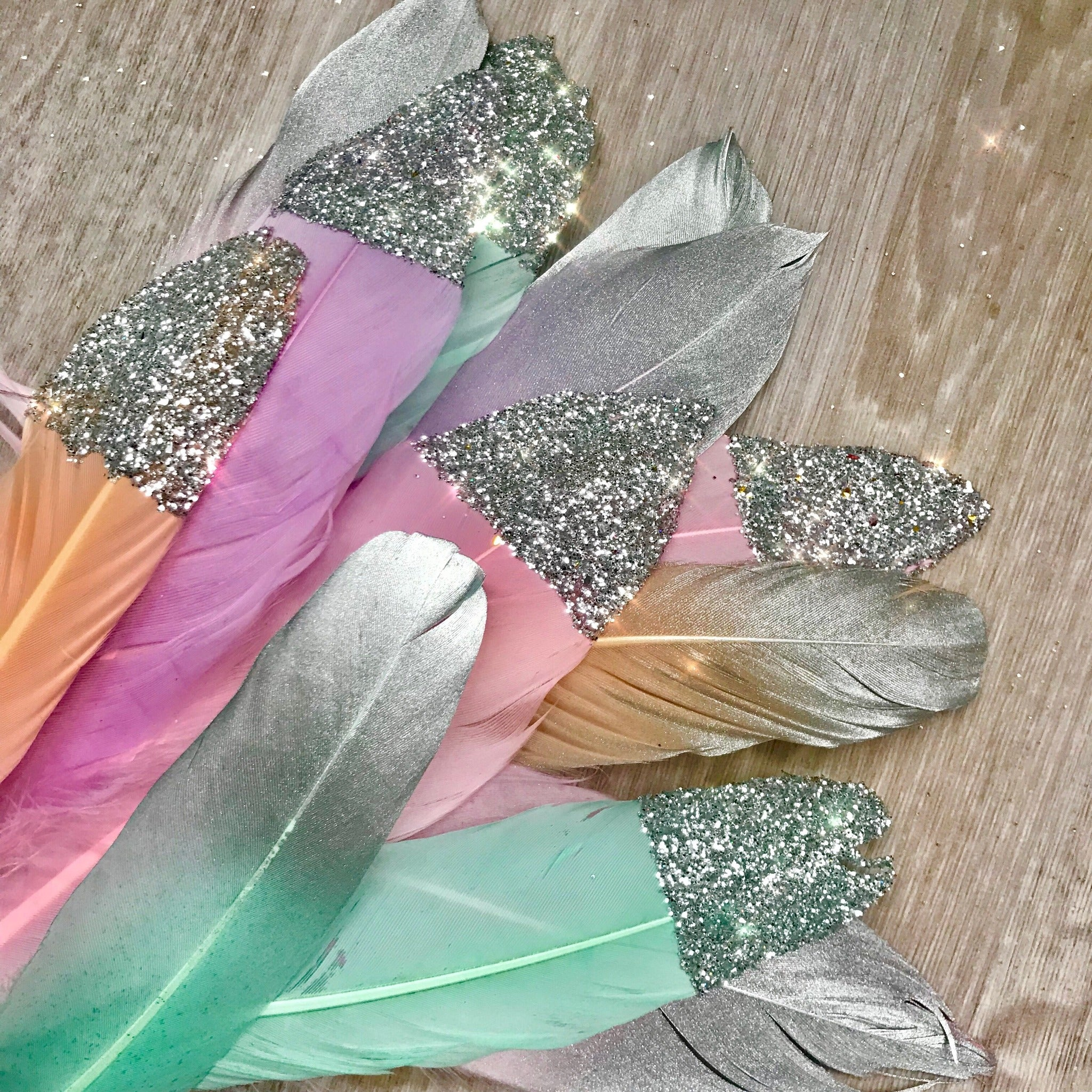 Magical unicorn pastel feathers-silver.