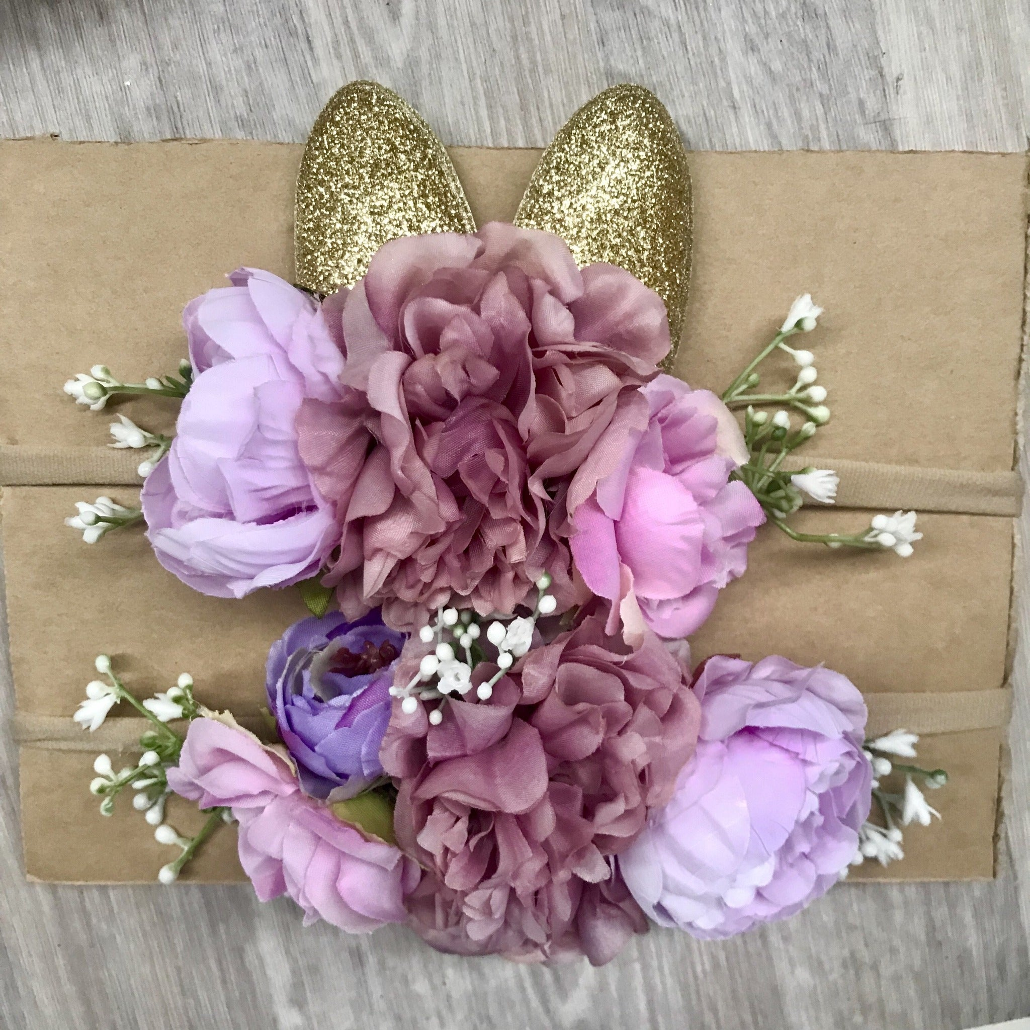 Mini Floral bunny crown set- pink/purple.