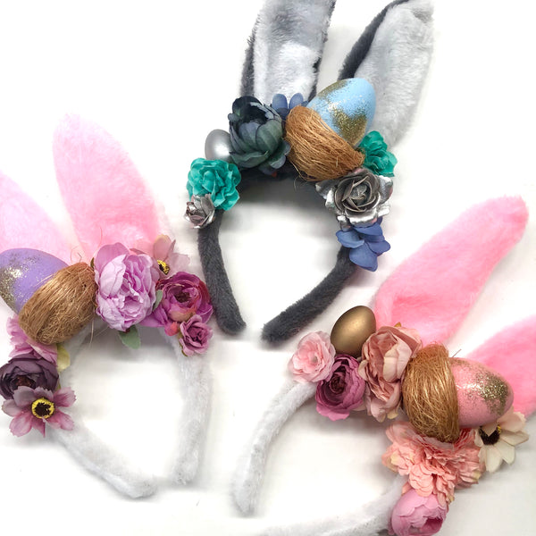 Floral Easter bunny ears -white + pink
