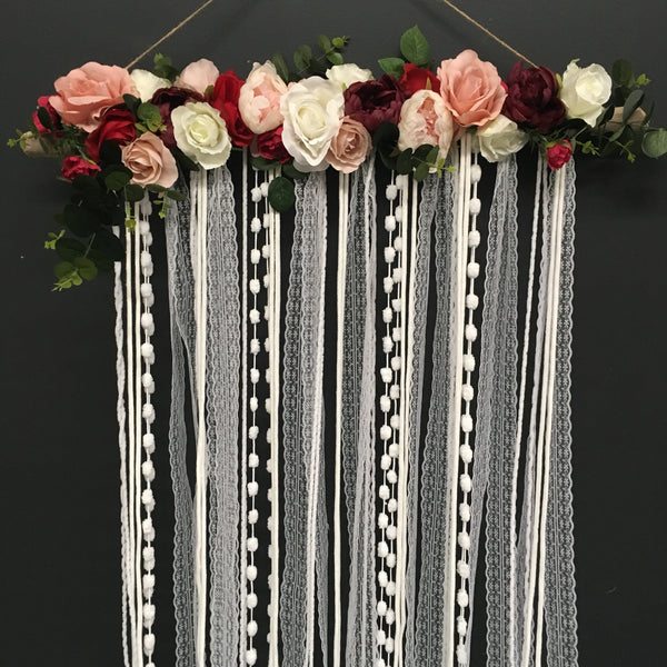 Boho Floral & lace wall hanging.