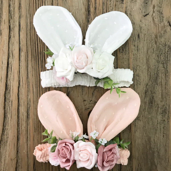Floral baby bunny ears - white polka dot.