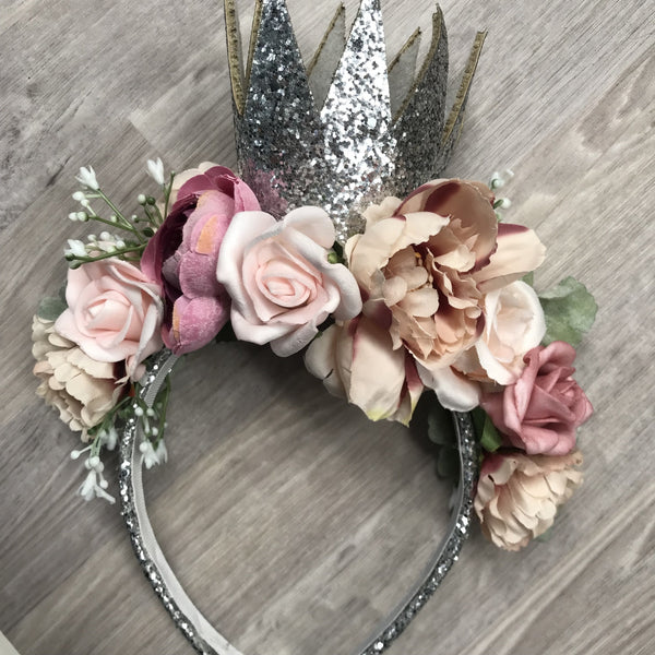 Floral silver glitter crown - mixed pinks.