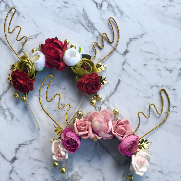 Large glitter floral reindeer crown - red/green/white.