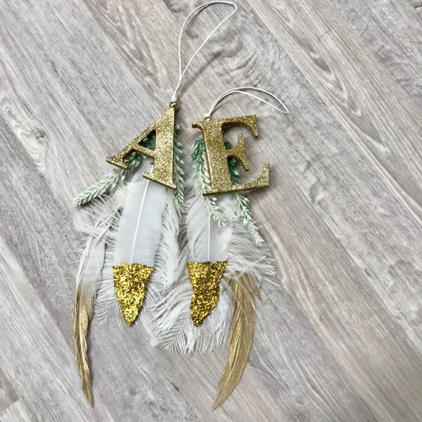 Christmas feather initial ornament.