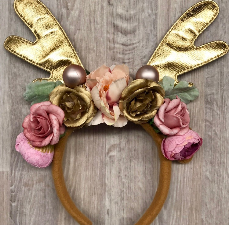Shiny Gold reindeer crown - pink.