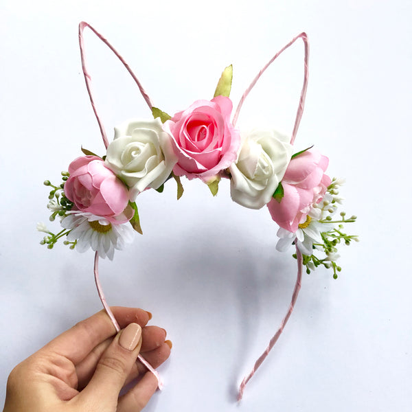 Pretty in pink floral bunny crown.