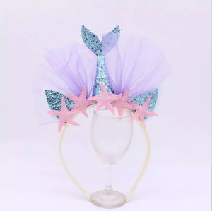 Mermaid tail crown - pink stars.