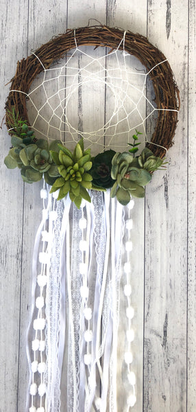 Natural succulent dreamcatcher.